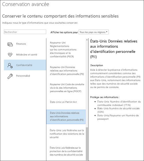 Page Types d'informations sensibles