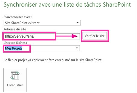 Enregistrer un projet sur SharePoint
