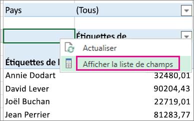 Commande Afficher la liste des champs du menu contextuel