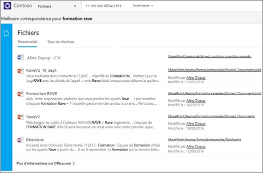 capture d'écran: recherche de documents à l'aide de Bing pour les entreprises.