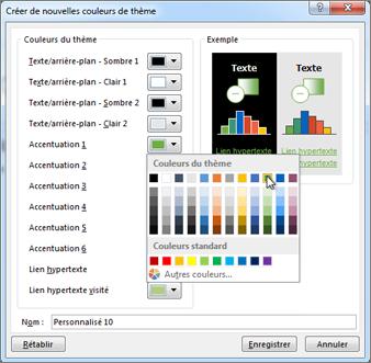 Modifier une couleur de thème