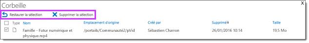 Office 365 vidéo restaurer ou supprimer une vidéo