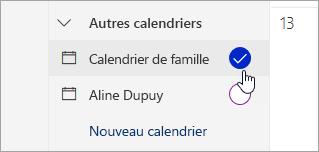 Capture d'écran du calendrier famille dans le volet gauche