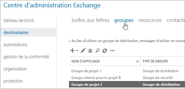 Recherche de groupes dans le Centre d'administration Exchange