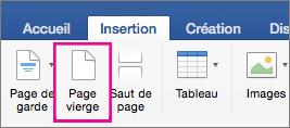 Sous l'onglet Insertion, l'option Page vierge est mise en évidence