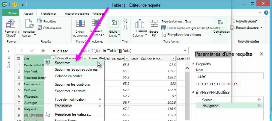 Query Editor context menu