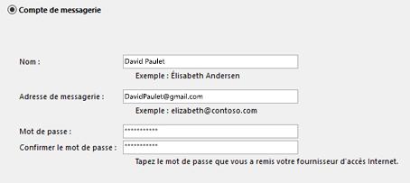 Entrez vos adresse de courrier et mot de passe