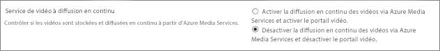 Désactiver le paramètre Office365 Vidéo du centre d'administration SharePoint Online
