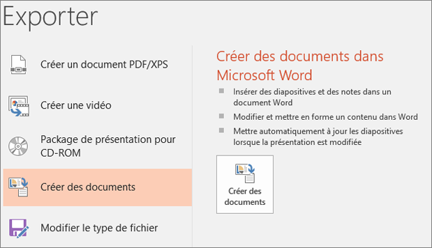 Capture d'écran de l'interface utilisateur de PowerPoint affichant l'option Fichier > Exporter > Créer des documents.