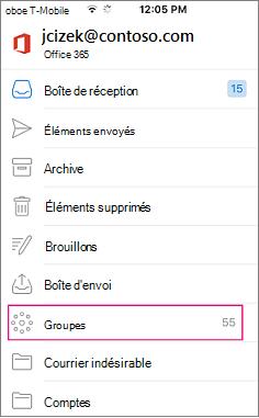 Groupes est un nœud dans la liste des dossiers dans Outlook mobile