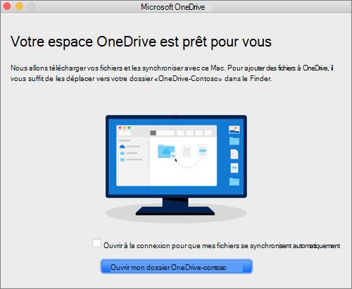 Capture d'écran du dernier écran de l'Assistant Bienvenue dans OneDrive sur Mac