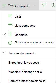Office 365 changer d'affichage de bibliothèque de documents