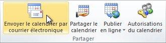 Commande Envoyer le calendrier par courrier électronique dans le ruban