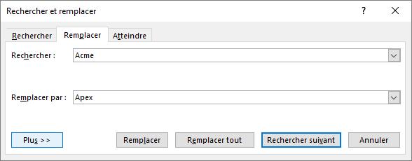 Boîte de dialogue Rechercher et remplacer dans Outlook.