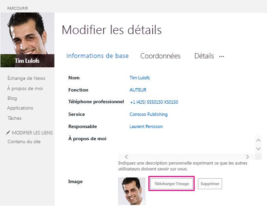 Capture d'écran Modifier l'image SharePoint avec le bouton Télécharger en surbrillance