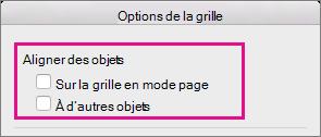 Pour désactiver l'alignement, désactivez les options sous Aligner les objets.