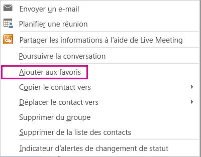Capture d'écran de la liste déroulante avec l'option Ajouter aux Favoris sélectionnée