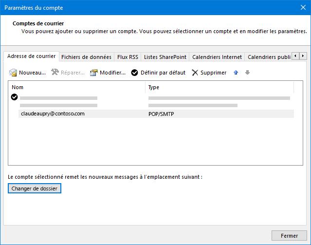 Boîte de dialogue Paramètres du compte Outlook