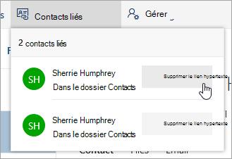 Capture d'écran du bouton Dissocier dans le menu contacts liés
