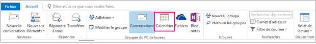 Bouton calendrier dans le ruban de groupes dans Outlook