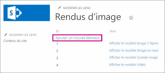 Capture d'écran de l'option Ajouter un nouvel élément