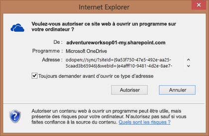 Capture d'écran de la boîte de dialogue dans Internet Explorer demandant l'autorisation d'ouvrir Microsoft OneDrive