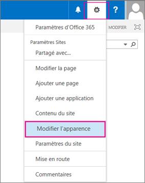 Sélectionnez l'option Modifier l'aspect de votre site
