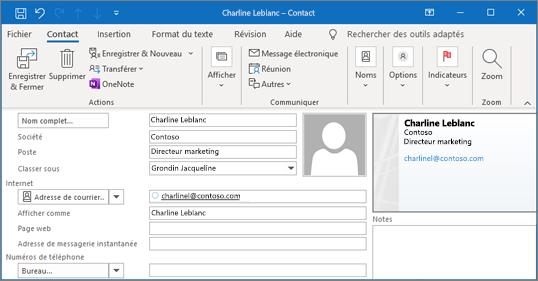 Ajouter un contact dans Outlook