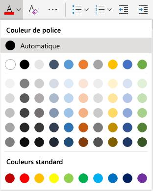 Menu de sélection des couleurs de police dans Word Online