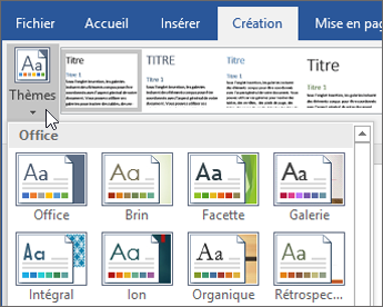 Thèmes d'Office 365 Word