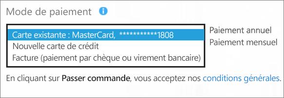 Capture d'écran de la section «Mode de paiement» dans la page «Choix du mode de paiement» avec la zone de liste déroulante des options de paiement développée