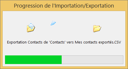 Image de la zone de progression de l'exportation.