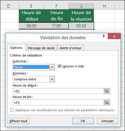 Paramètres de validation permettant de restreindre la saisie de l'heure dans un intervalle de temps