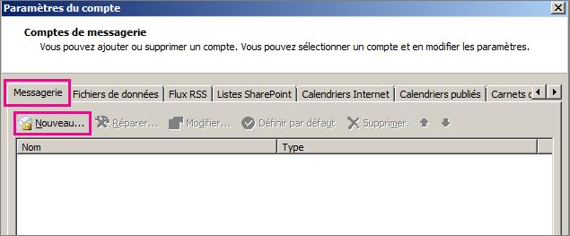 Capture d'écran de l'onglet Messagerie dans la boîte de dialogue Paramètres du compte.
