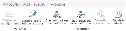 Capture d'écran de l'onglet variantes du site cible. Onglet contenant deux groupes, variante et traduction