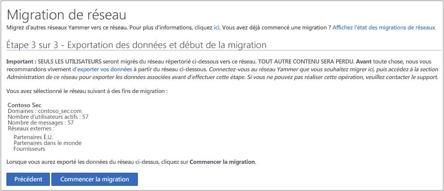 Capture d'écran de l'étape3 sur3: exporter des données et démarrer la migration