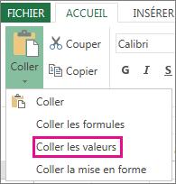 Commande Coller montrant l'option Coller les valeurs dans Excel Web App