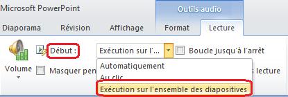 Option «Exécution sur l'ensemble des diapositives» pour un fichier audio dans PowerPoint2010
