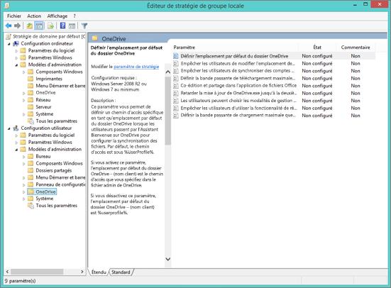 Paramètres OneDrive dans l'éditeur de la gestion de stratégie de groupe