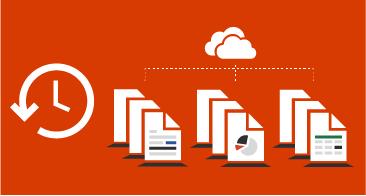 Trois fichiers au centre avec un nuage au-dessus et une horloge sur la gauche