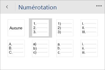 Capture d'écran du menu Numérotation dans Word Mobile avec un style de numérotation sélectionné