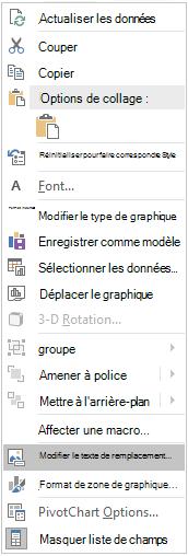 Menu modifier le texte de remplacement dans Excel Win32 pour les graphiques croisés dynamiques