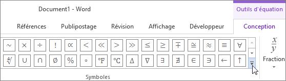 En cliquant sur la flèche Plus pour rechercher des symboles mathématiques supplémentaires