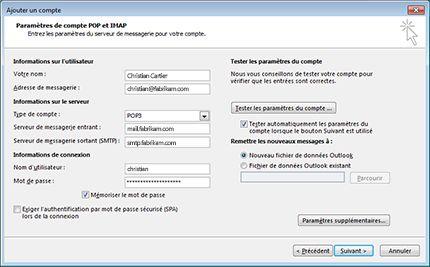 Boîte de dialogue Configuration de compte manuelle