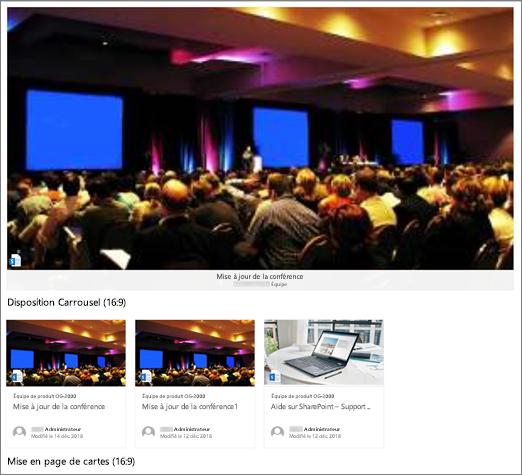 Exemples d'image de composant WebPart contenu en surbrillance