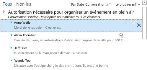 Exemple de conversations fractionnées en mode de disposition Conversations