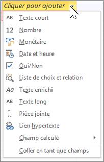 Ajouter une nouvelle colonne de table, taper «Liste de choix et relation»