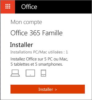 Page Mon compte sur OfficeStore contenant le bouton Installer