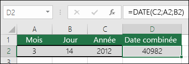 Fonction DATE, exemple 1