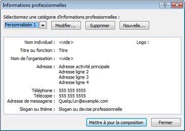Modifier une catégorie d'informations professionnelles dans Publisher 2010